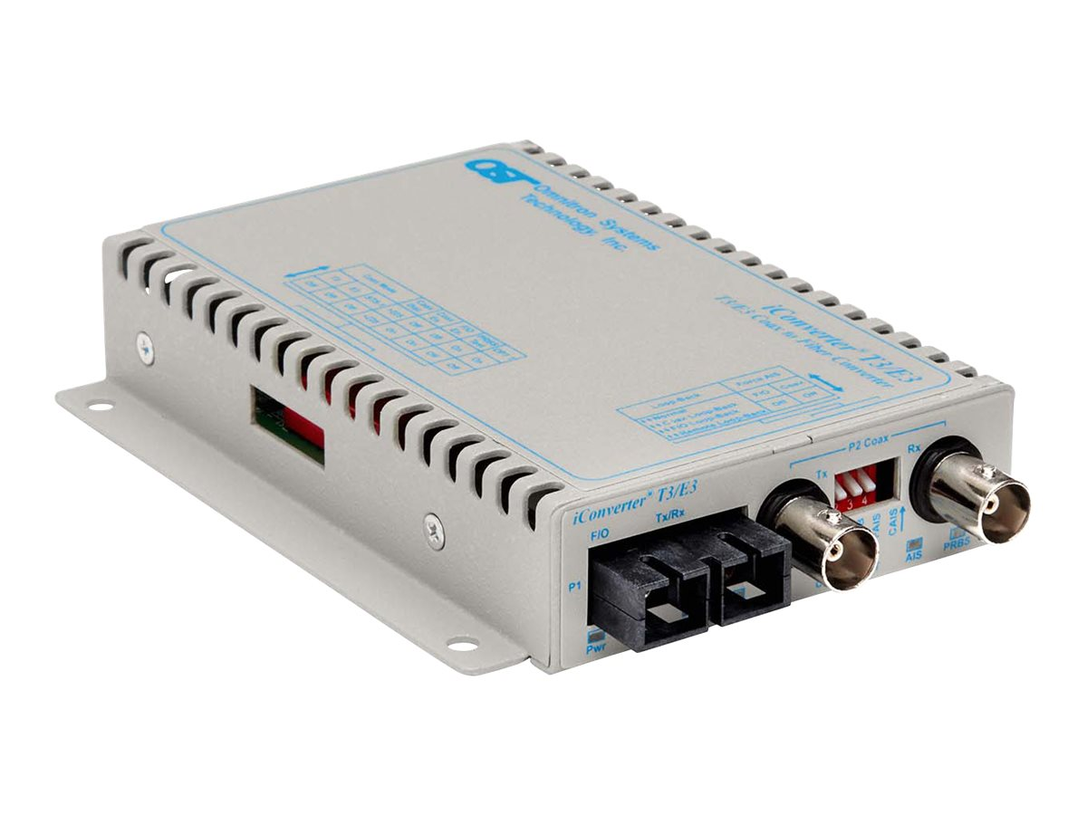 Omnitron I-Converter DS3 T3 E3 Media Converter Coax. to SC SM 1310nm 30km Wall Mount, DC, 8743-1-F, 16052307, Network Transceivers