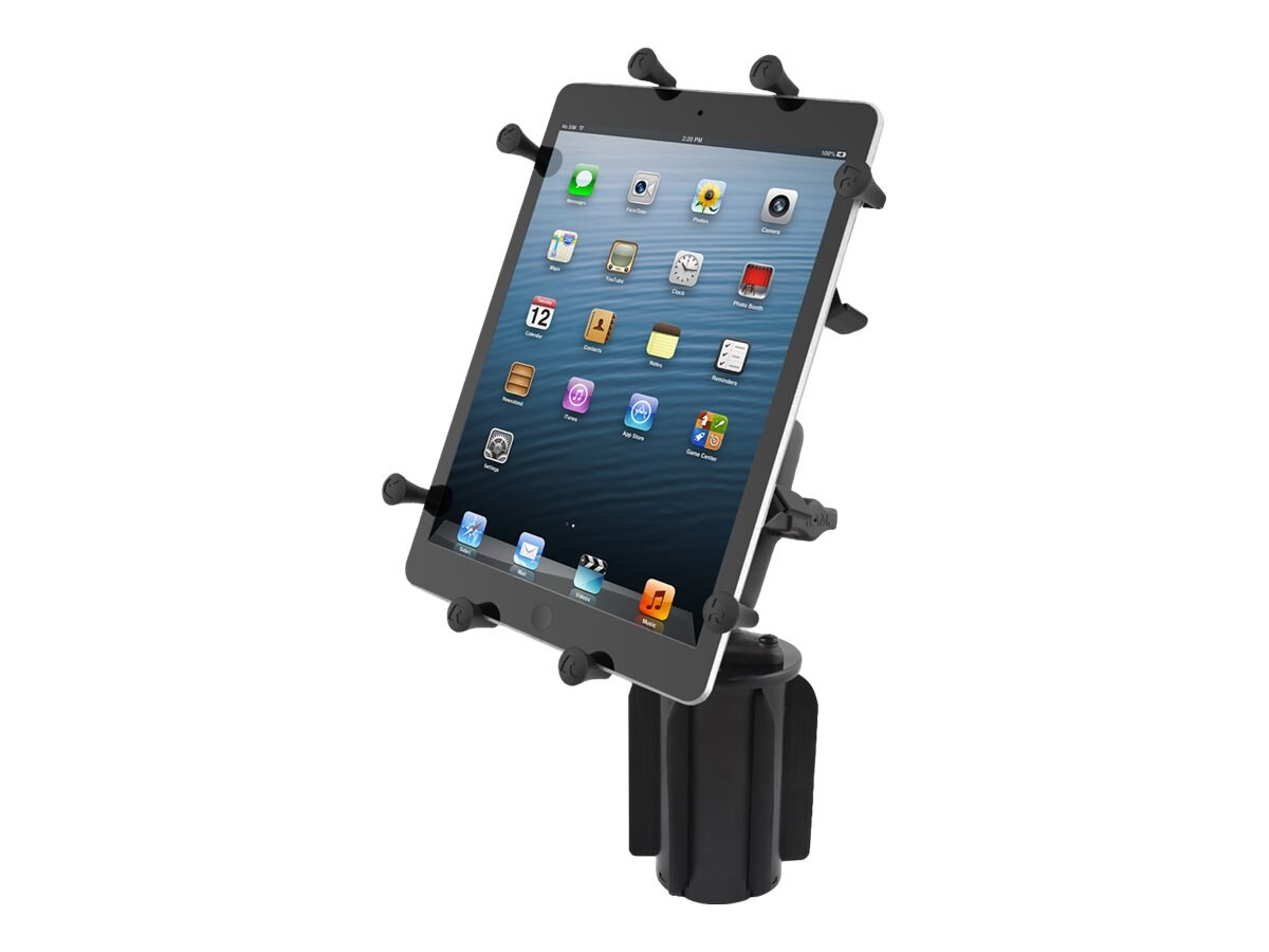 Ram Mounts Universal Cup Holder Mount with Double Socket Arm and Universal X-Grip Cradle for 10 Tablets