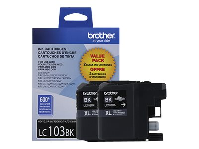 Brother Black LC103BK Innobella High Yield (XL Series) Ink Cartridges (2-pack)