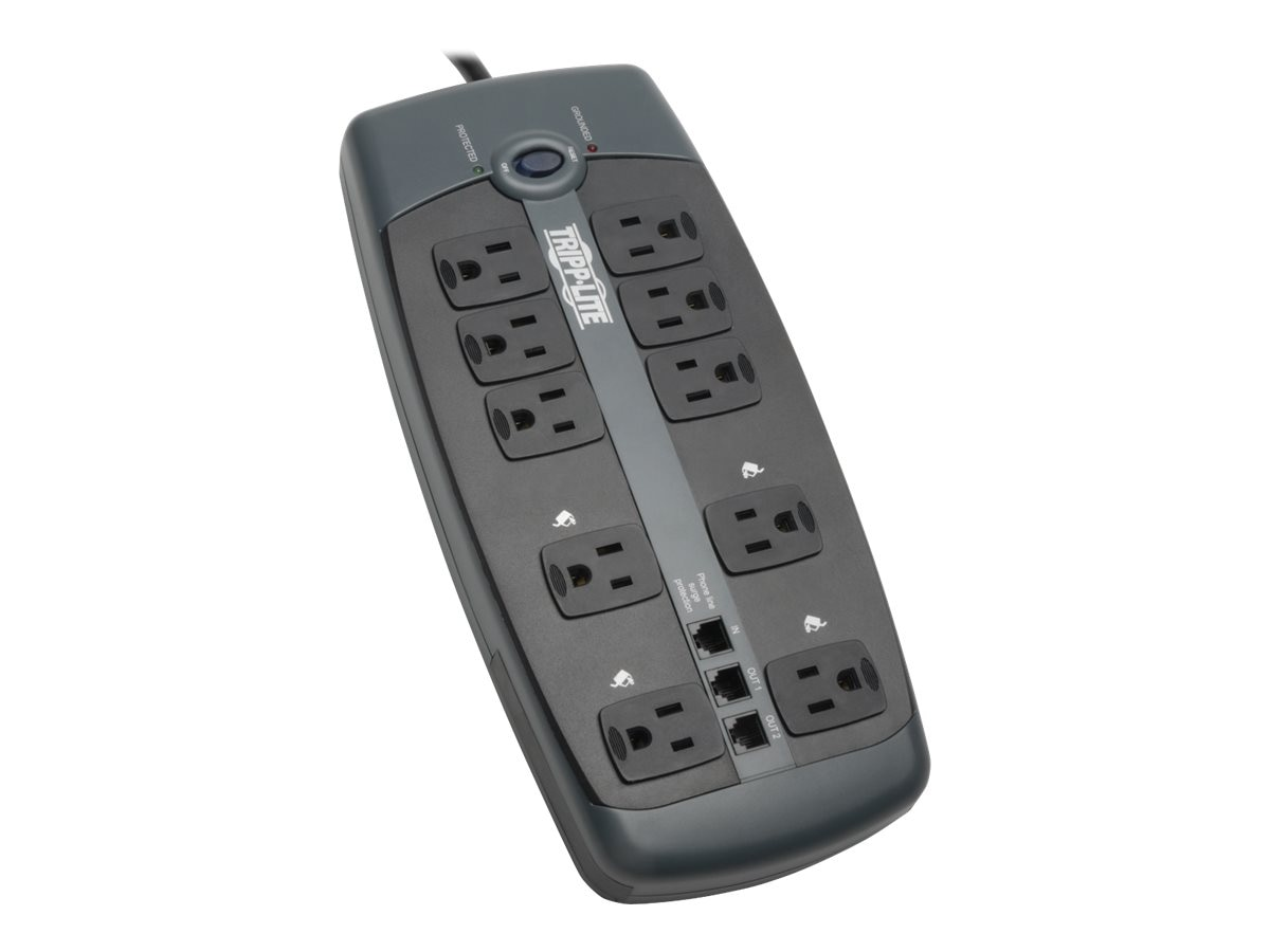 Tripp Lite Protect It! Surge (10) Outlet (7 Transformers) 8ft Cord 2395 Joules, TLP1008TEL