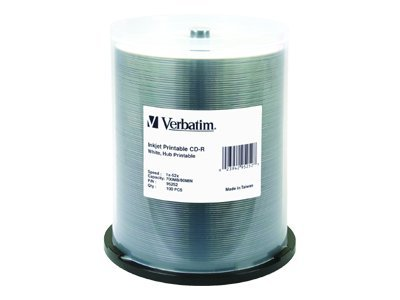 Verbatim 52x 700MB 80min White Inkjet Hub Printable CD-R Media (100-pack spindle), 95252, 6505923, CD Media