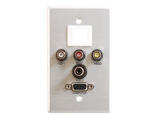 C2G Single Gang HD-15 3.5mm RCA A V + Keystone Wall Plate, Brushed Aluminum, 40541, 10879258, Premise Wiring Equipment