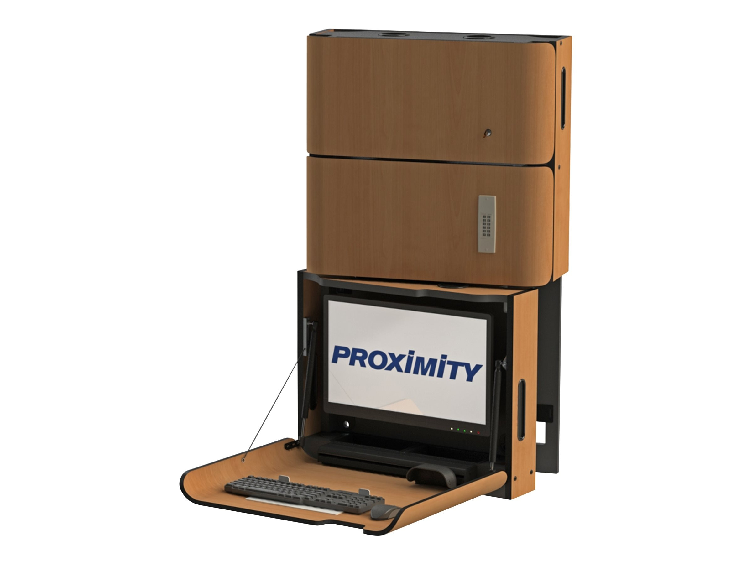 Proximity Classic Self-Disinfecting Wall Station with Monitor Tilt, Left Swivel, Med Storage, Font Hill Pear