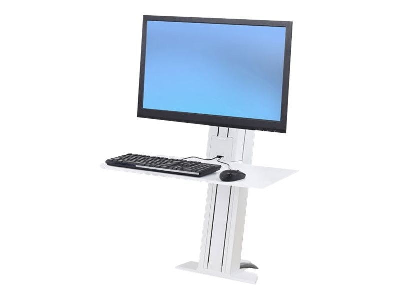 Ergotron WorkFit-SR, Heavy Monitor, Sit-Stand Desktop Workstation, Short Surface, White, 33-421-062