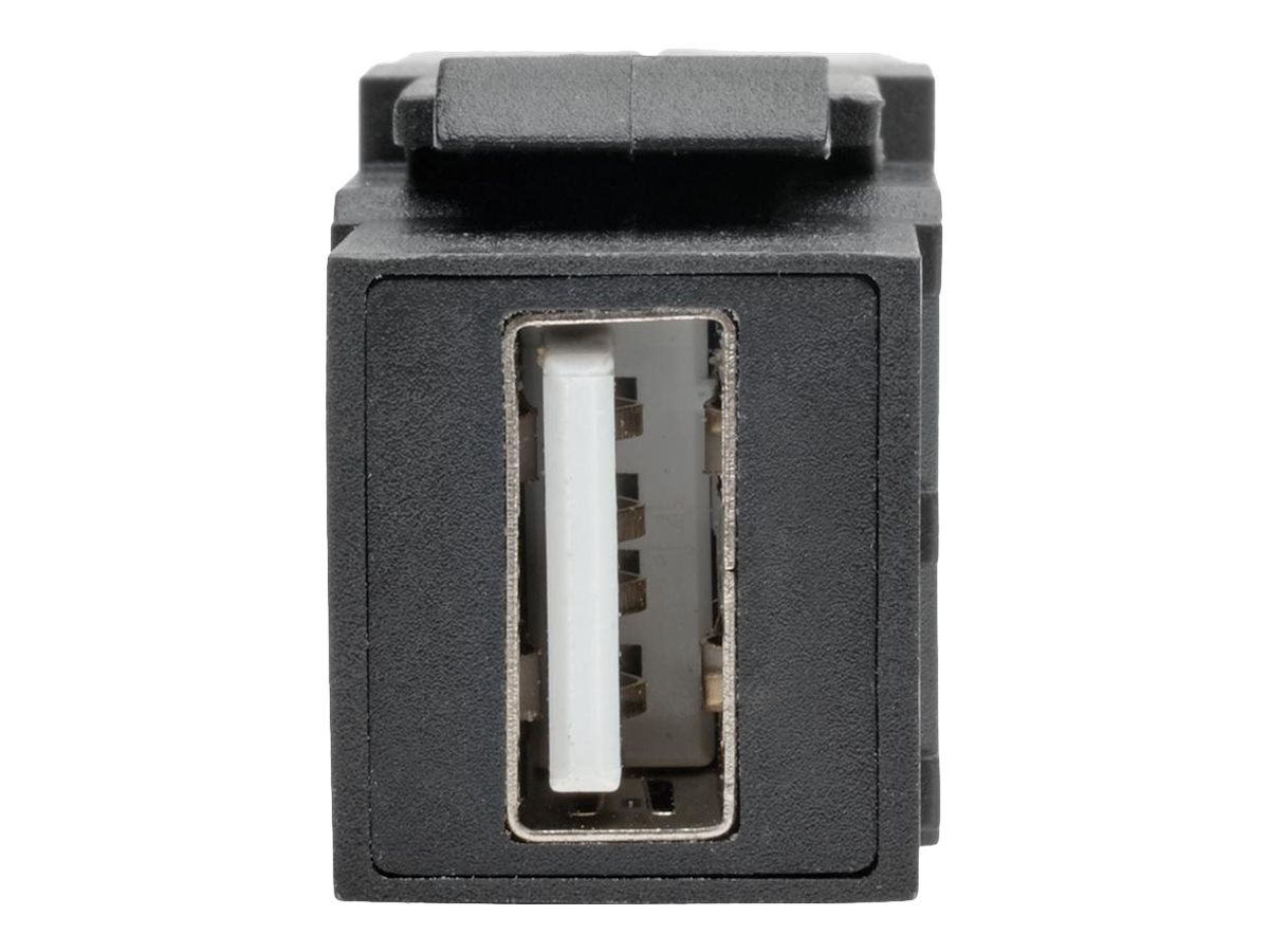 Tripp Lite USB 2.0 Type A F F All-in-One Keystone Panel Mount Angled Coupler, Black, U060-000-KPA-BK