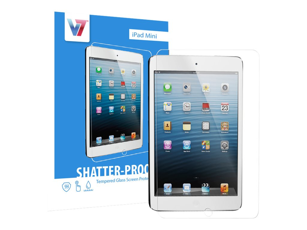 V7 Tempered Glass Shatter Shock Proof Screen Protector for iPad mini, PS500-IPDMNTPG-3N