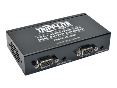 Tripp Lite Dual VGA with Audio over Cat5 Extender, Receiver, Up to 300-ft., B132-200A-SR, 20594272, Adapters & Port Converters