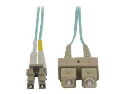 Tripp Lite Fiber 10Gb Patch Cable, LC SC, 50 125, Duplex, Multimode, Aqua, 3m, N816-03M, 5823073, Cables