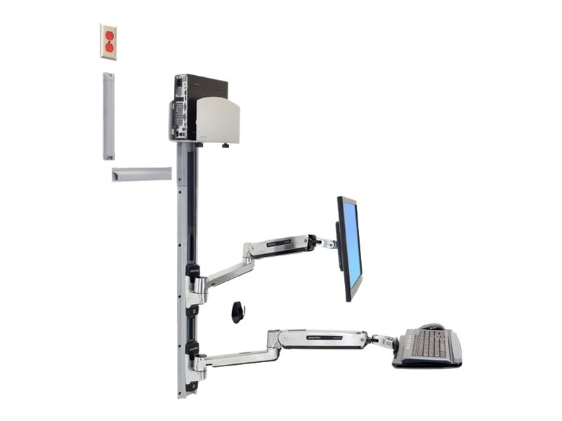 Ergotron LX Sit-Stand Wall Mount System with Medium Silver CPU Holder