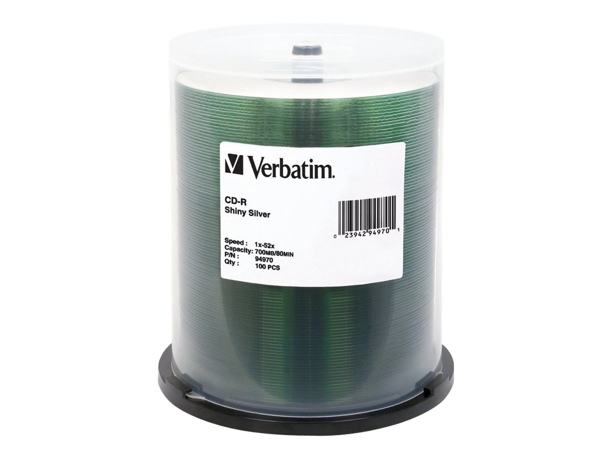 Verbatim 52x 700MB 80min. Shiny Silver Screenable CD-R Media (100-pack), 94970, 6505907, CD Media