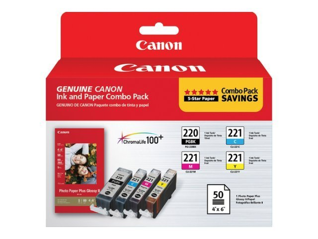 Canon PG-220 CL-221 Combo Pack w  4 x 6 PP-201 Photo Paper Plus Glossy II Paper (50-Sheets)
