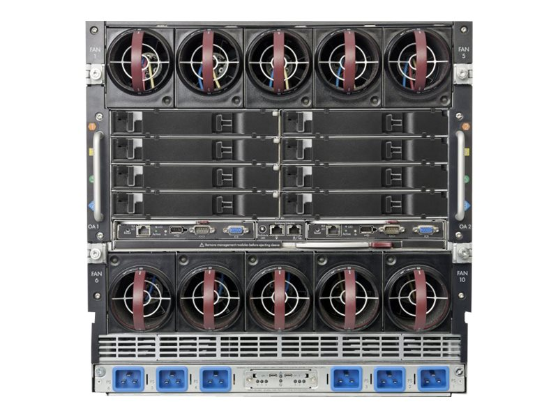 HPE BLc7000 Platinum Blade Enclosure with 1 Phase 6 Power Supplies 10xFans ROHS 16 OneView Licenses, 763850-B21