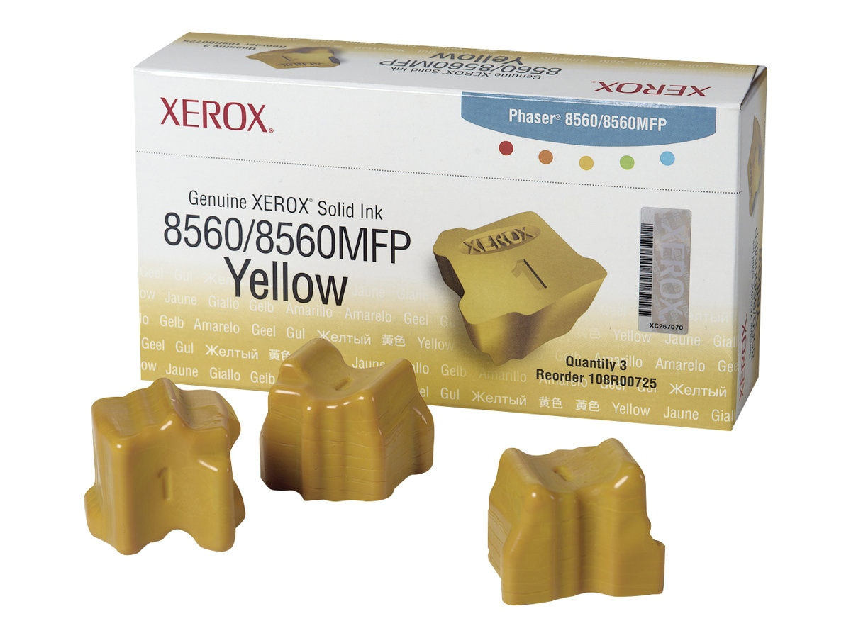 Xerox Genuine Xerox Solid Ink Yellow, Phaser 8560 8560MFP (3 Sticks), 108R00725, 7437774, Toner and Imaging Components