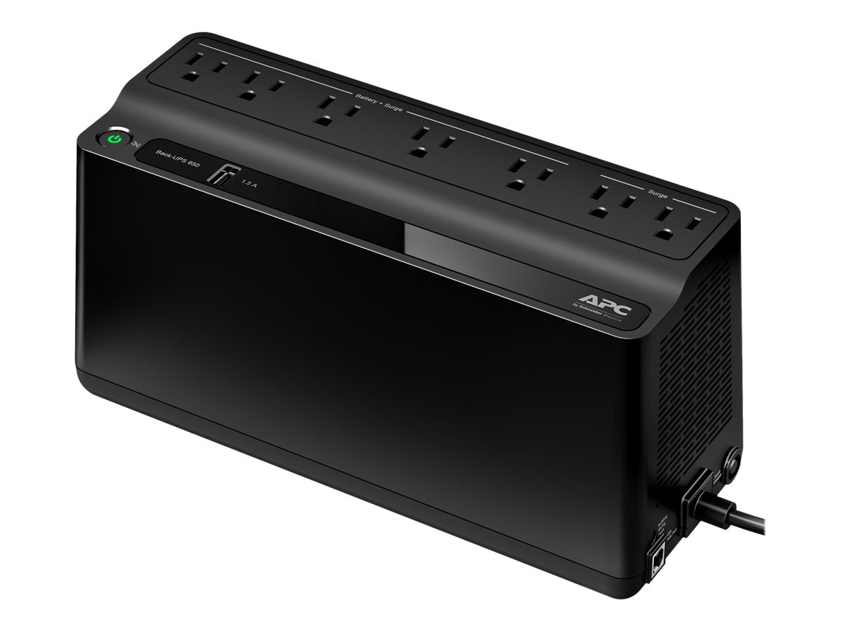 APC Back-UPS 650VA 120V (7) 5-15R Outlets, (1) USB Charging Port, 490 Joules, Black (Canada)