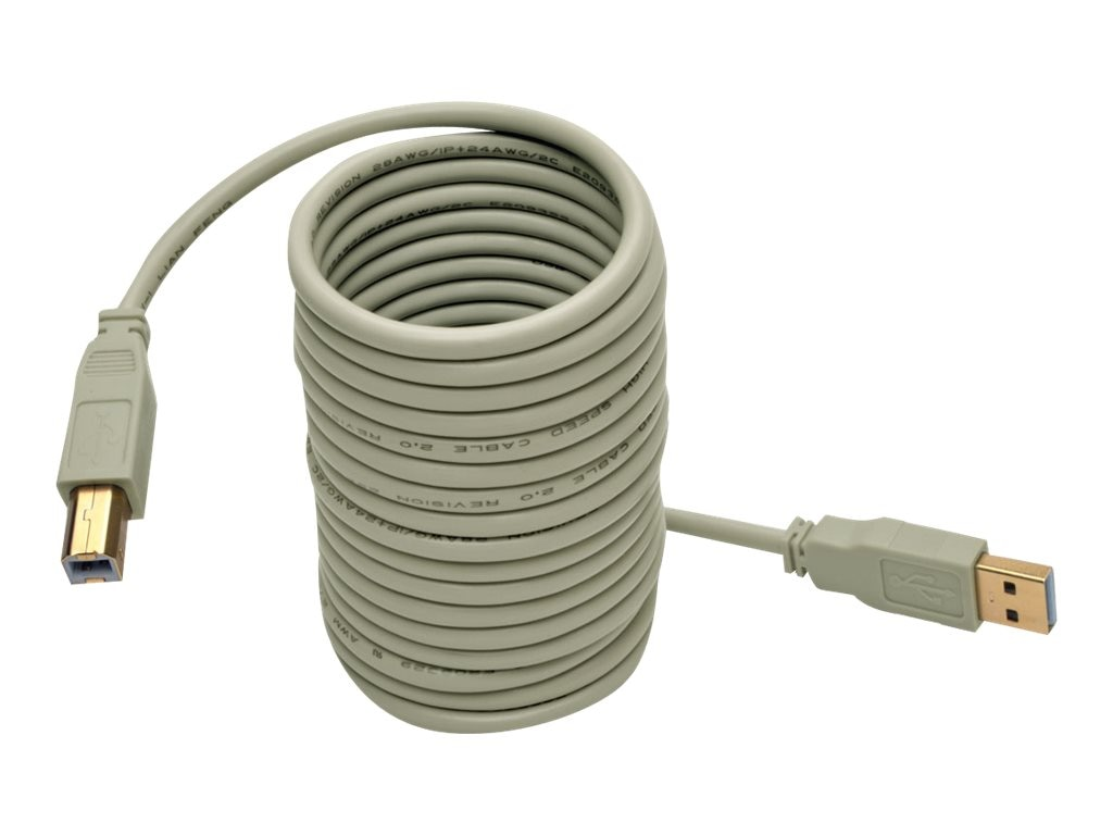 Tripp Lite Hi-Speed USB 2.0 Type A to USB Type B M M Cable, Beige, 10ft