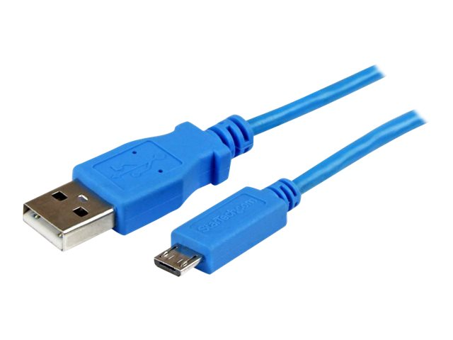 StarTech.com Mobile Charge Sync USB to Slim Micro USB Cable for Smartphones and Tablets, Blue, 1m, USBAUB1MBL