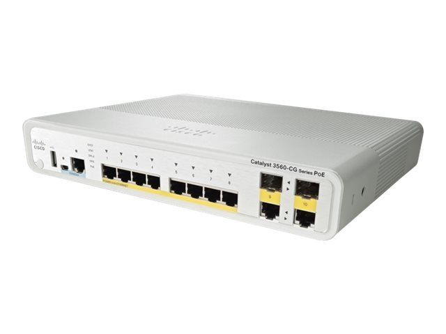 Refurb. Cisco Catalyst 3560C Switch (8) GE PoE (2) Dual Uplink IP Base, WS-C3560CG-8PC-S, 12573869, Network Switches