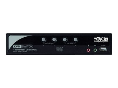 Tripp Lite 4-Port KVM Switch with Audio, OSD and Peripheral Sharing, B006-VUA4-K-R