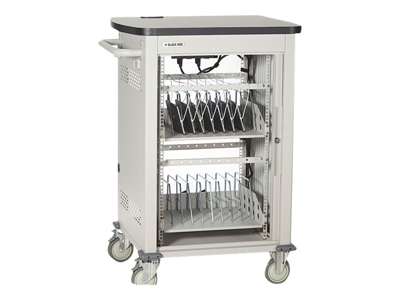 Black Box 30-Unit Charging Cart with Single Frame with Medium Slots and Tambour Door, UCCSM-10-30T, 17613250, Computer Carts