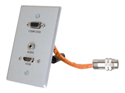 C2G RapidRun HDMI, VGA + Stereo Audio Single Gang Wall Plate Transmitter, Aluminum