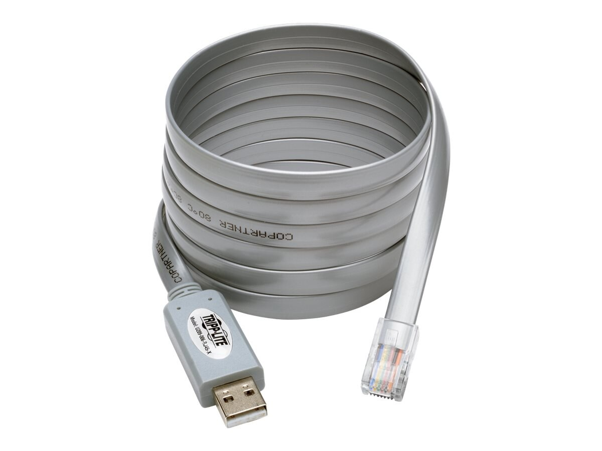 Tripp Lite USB Type A to RJ45 M M Cisco Serial Rollover Cable, Gray, 6ft
