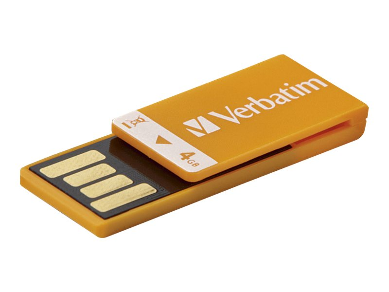 Verbatim 4GB Clip-It USB Flash Drive, Orange, 97551