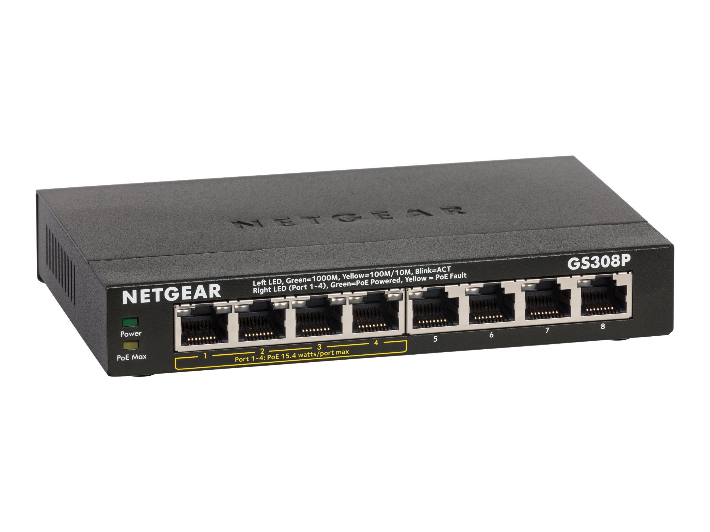 Netgear 8-Port GbE Switch w 4-Port PoE, GS308P-100NAS, 30824060, Network Switches