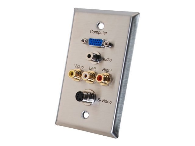 C2G Single Gang HD15, 3.5mm, S-Video, Composite Video, Stereo Audio Wall Plate, Stainless Steel