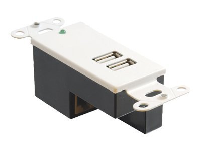 C2G 2-Port USB Superbooster Wallplate Receiver, White