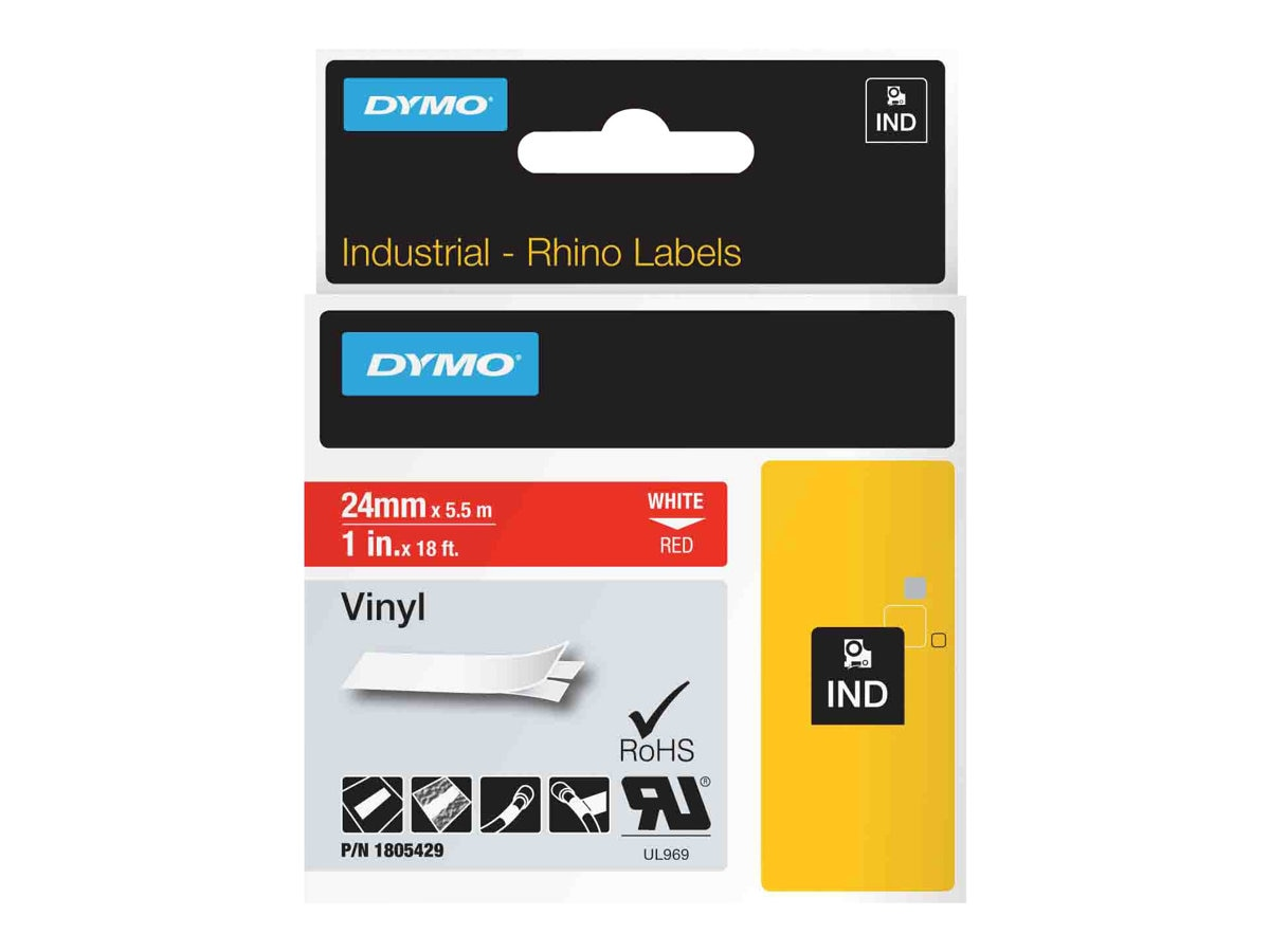 DYMO 1 Rhino Red Vinyl Labels, 1805429, 13202453, Paper, Labels & Other Print Media