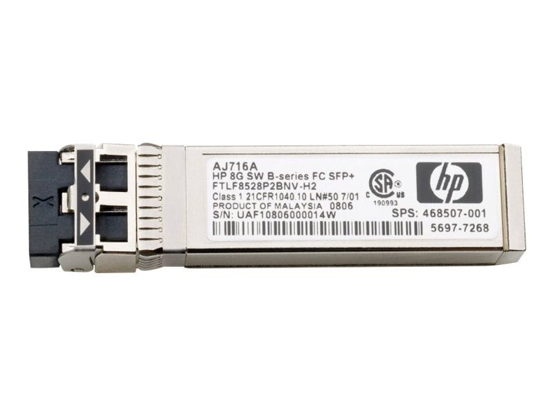 HPE 8Gb Long Wave B-series 10km Fibre Channel SFP + Transceiver, AJ717A, 9244714, Network Transceivers