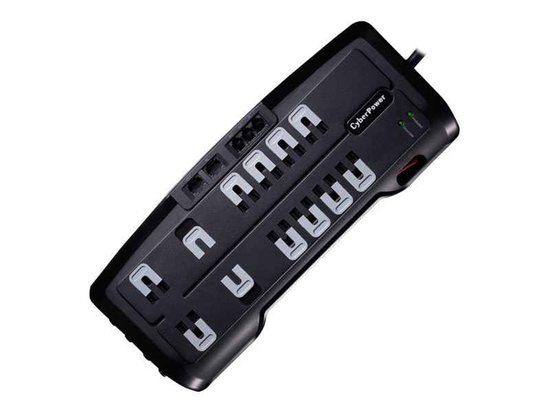 CyberPower Home Theater Series Surge Suppressor 3150 Joules, (12) Outlets, Phone Network Coax Protection, CSHT1208TNC2, 14251695, Surge Suppressors