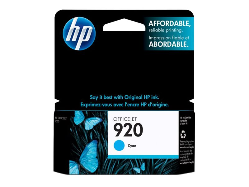 HP 920 (CH634AN) Cyan Original Ink Cartridge, CH634AN#140, 9257216, Ink Cartridges & Ink Refill Kits