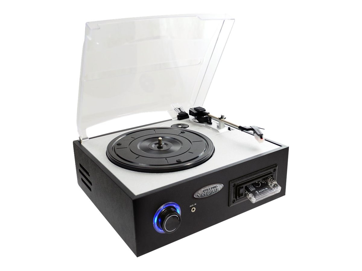 Pyle Multifunction Turntable with MP3 Recording, USB-to-PC, Cassette Playback, Rechargeable Battery