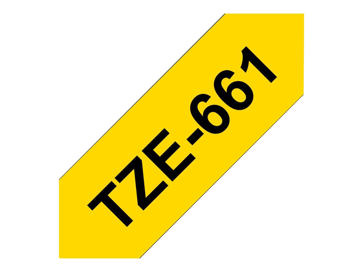 Brother 1.4 x 26.2' TZe661 Black on Yellow Tape, TZE-661, 13058244, Paper, Labels & Other Print Media