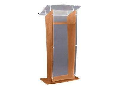 AmpliVox H-Style Presentation Lectern with Acrylic Panel, Walnut