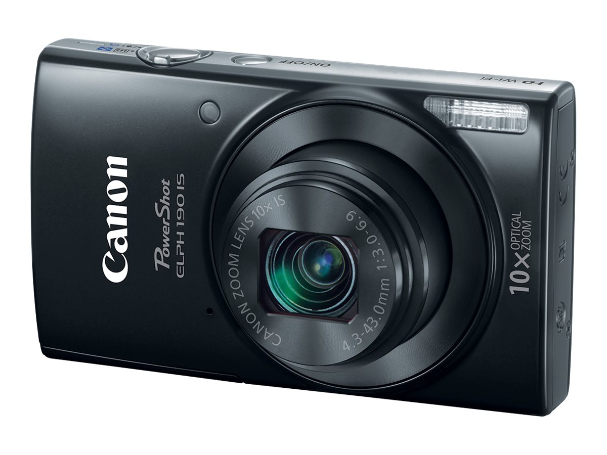 Canon PowerShot ELPH 190 IS Digital Camera, Black, 1084C001, 31823966, Cameras - Digital - Point & Shoot