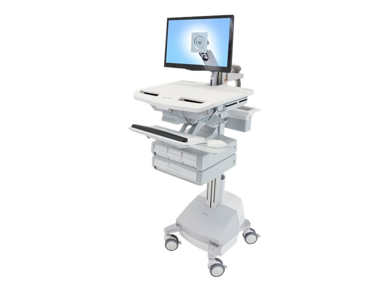 Ergotron StyleView Cart with LCD Arm, SLA Powered, 4 Drawers, SV44-1241-1