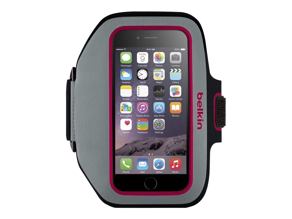 Belkin Sport-Fit Plus Armband for iPhone 6, Sidewalk Fuchsia, F8W501BTC01, 18815902, Carrying Cases - Phones/PDAs