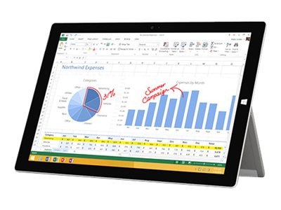 Microsoft Surface 3 4GB 64GB 10.8 Tablet ac abgn BT T-Mobile ATT 2xWC FHD+ MT W10P, MA4-00009, 31017008, Tablets