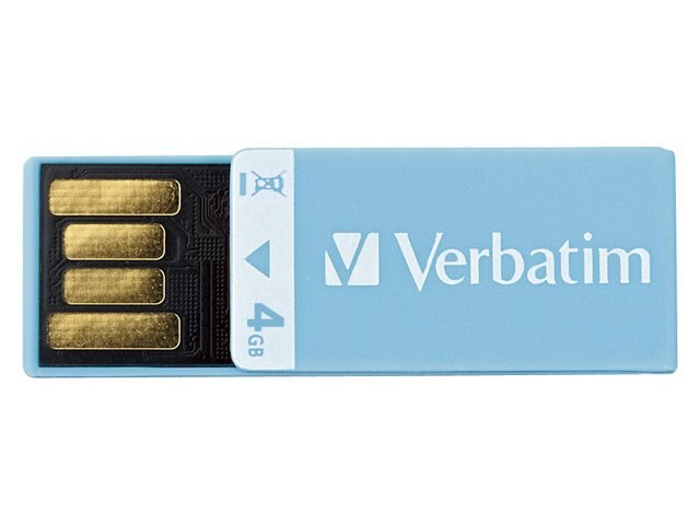 Verbatim 4GB Clip-It USB 2.0 Flash Drive, Blue, 97550