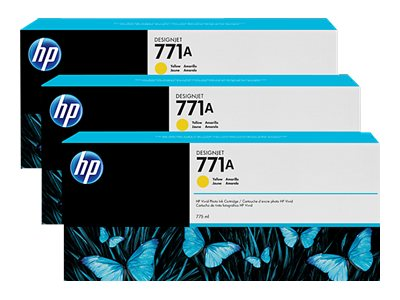 HP 771A 775-ml Yellow Designjet Ink Cartridges (3-pack), B6Y42A, 15709258, Ink Cartridges & Ink Refill Kits