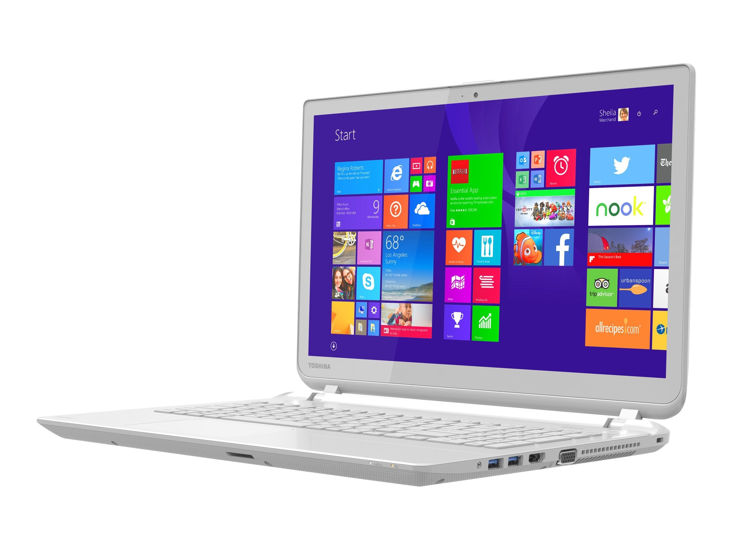 Toshiba Satellite L55T-B5257W Core i5-4210U 1.7GHz 6GB 750GB DVD SM bgn NIC WC 4C 15.6 HD MT W8.1 White, PSKT8U-017004, 17371781, Notebooks
