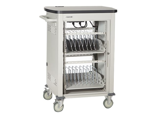 Black Box 18-Unit Laptop Chromebook Charging Cart with Hinged, Locking Door, UCCSL18T