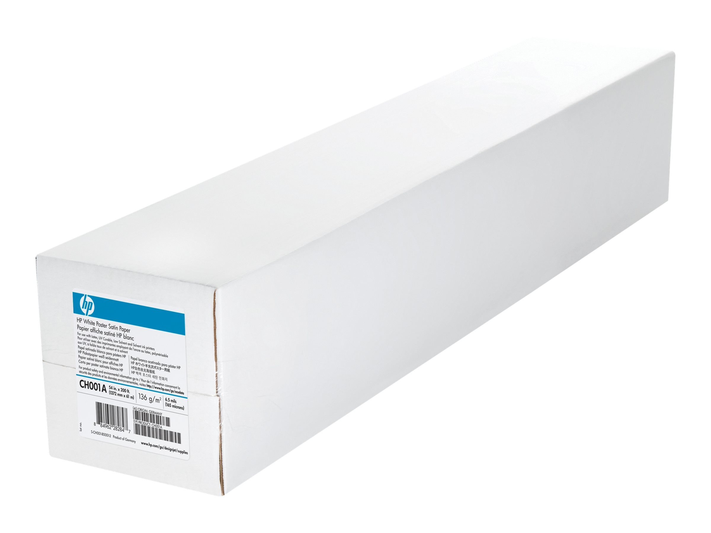 HP 54 x 200' White Satin Poster Paper, CH001A