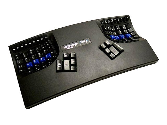Kinesis Advantage Qwerty Dvorak Switchable Contoured Keyboard for Mac PC, USB, Black, KB500USB/QD-BLK, 12729683, Keyboards & Keypads