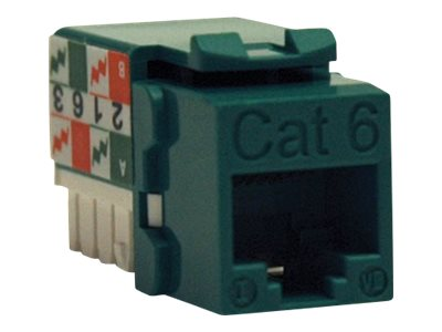 Tripp Lite Cat6 Cat5e 110 Style Punch Down Keystone Jack, Green, N238-001-GN, 10972866, Premise Wiring Equipment