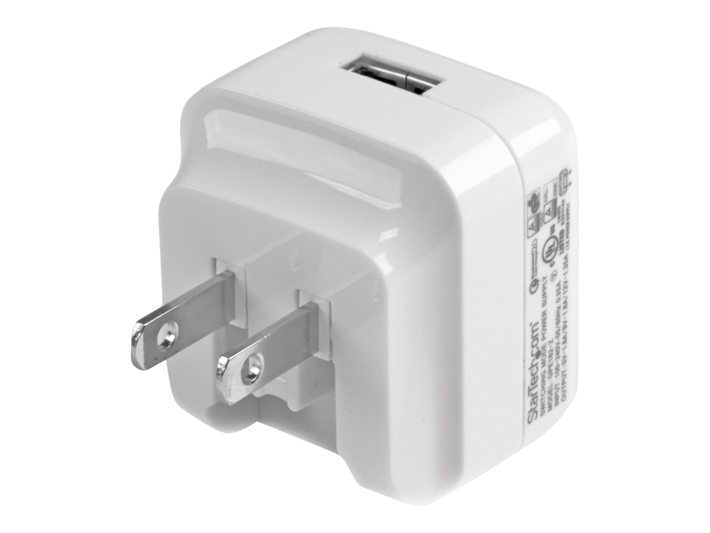 StarTech.com USB Wall Charger w  Quick Charge 2.0 for International Travel, White, USB1PACVWH