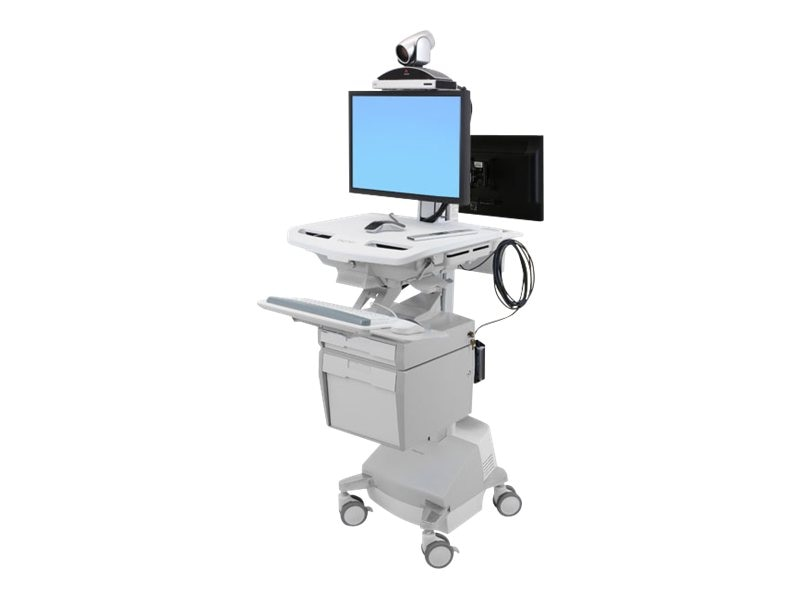 Ergotron StyleView Telepresence Cart, Back-to-Back Monitor, Powered, SV42-57E1-1, 16336537, Computer Carts - Medical
