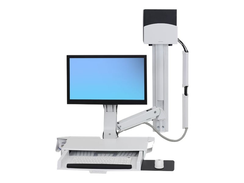Ergotron StyleView Sit-Stand Combo System with Worksurface, White, 45-270-216, 29834519, Wall Stations